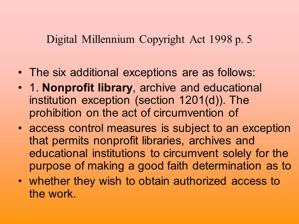 Digital Millennium Copyright Act 1998 p. 5