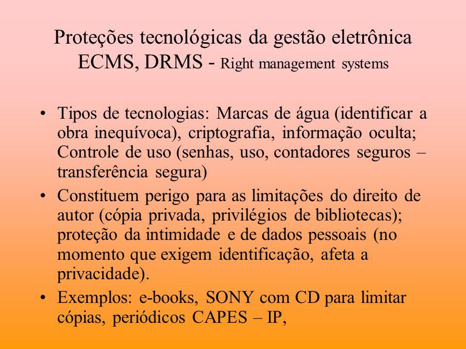Proteções tecnológicas da gestão eletrônica ECMS, DRMS - Right management systems