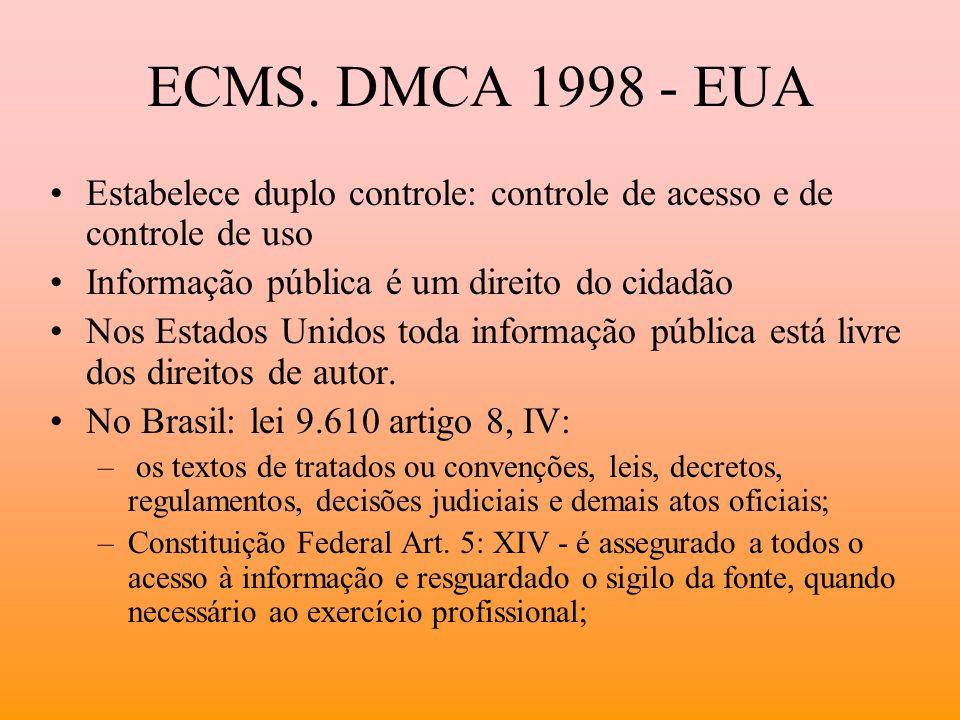 ECMS. DMCA 1998 - EUA Estabelece duplo controle: controle de acesso e de controle de uso. Informação pública é um direito do cidadão.