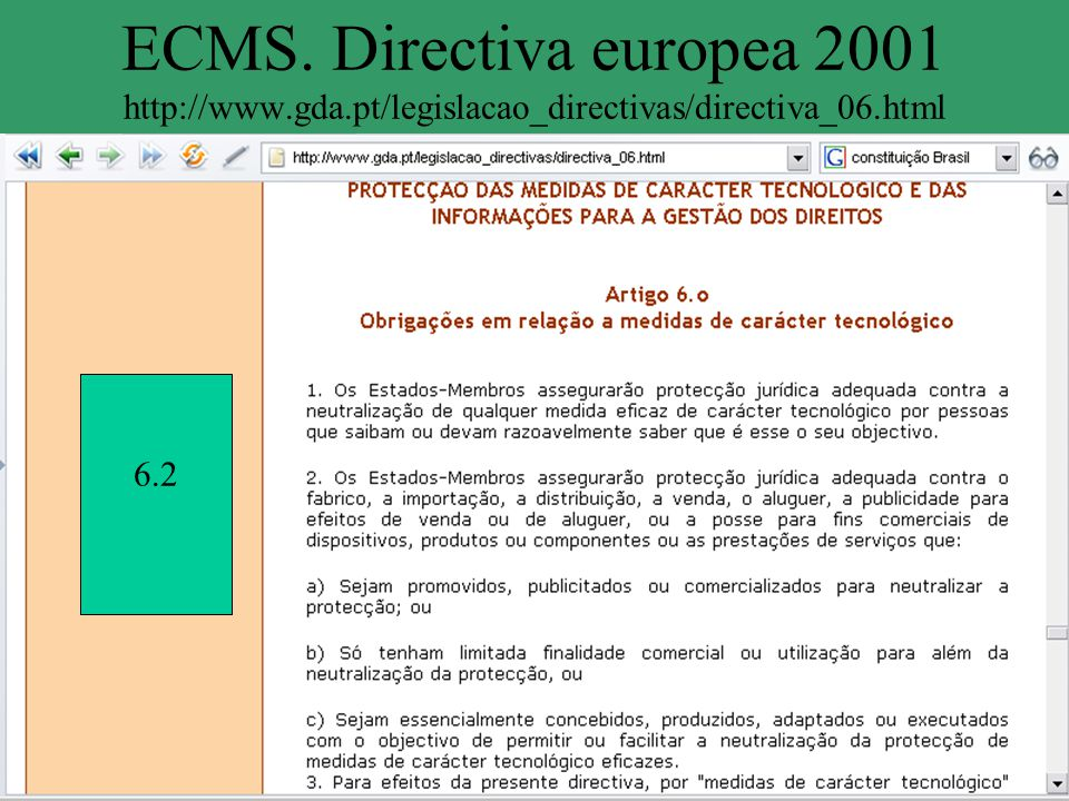 ECMS. Directiva europea 2001 http://www. gda
