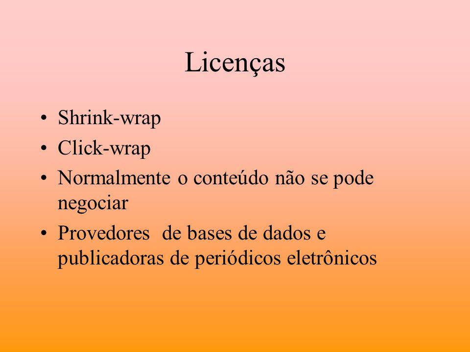 Licenças Shrink-wrap Click-wrap