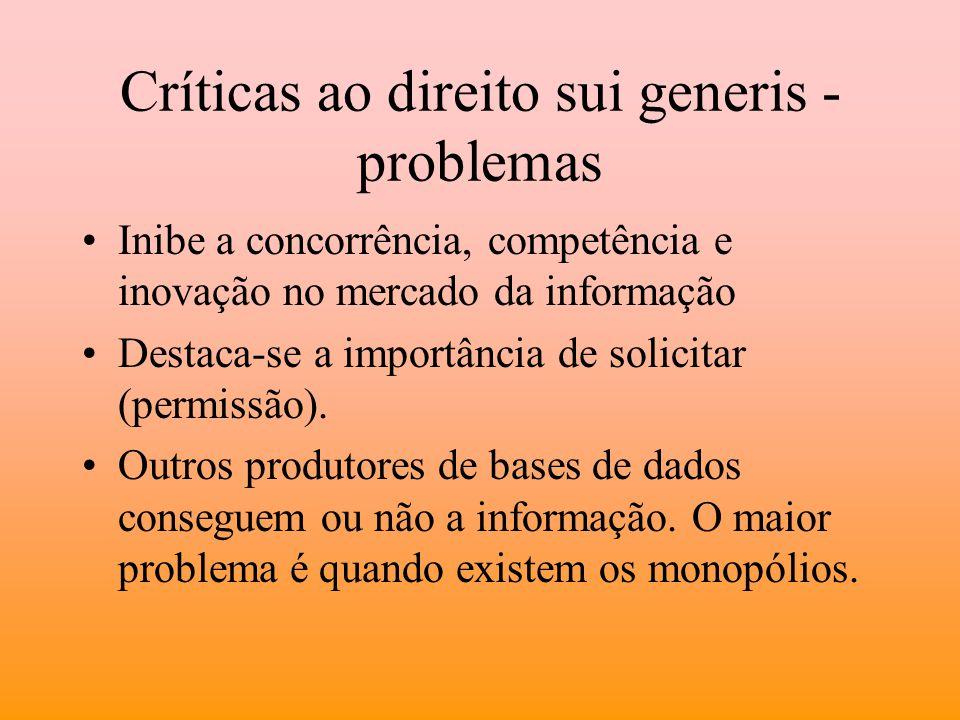 Críticas ao direito sui generis - problemas