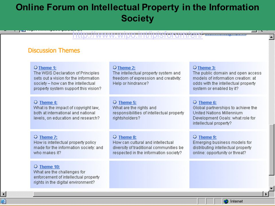 Online Forum on Intellectual Property in the Information Society