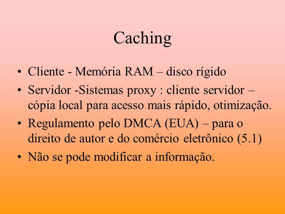 Caching Cliente - Memória RAM – disco rígido