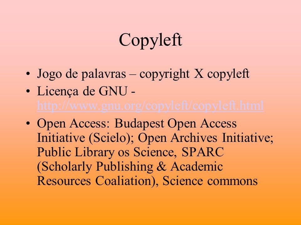 Copyleft Jogo de palavras – copyright X copyleft