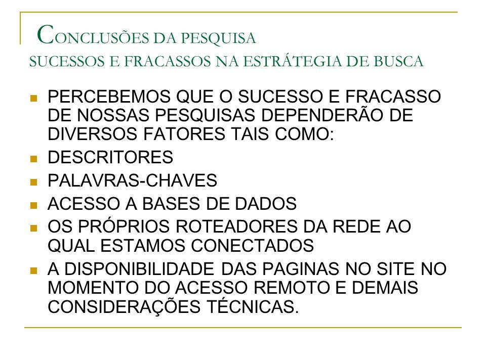 CONCLUSÕES DA PESQUISA SUCESSOS E FRACASSOS NA ESTRÁTEGIA DE BUSCA