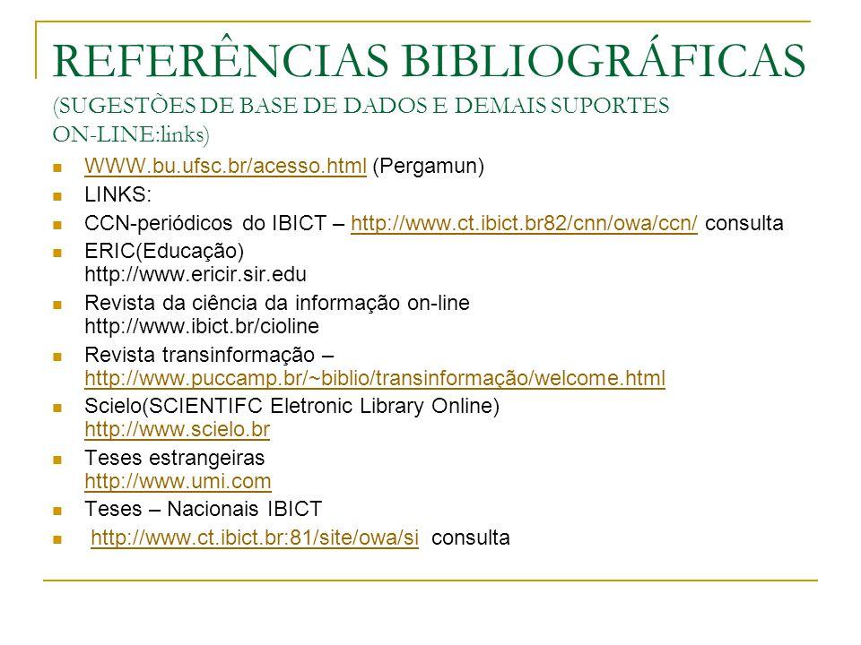 REFERÊNCIAS BIBLIOGRÁFICAS (SUGESTÕES DE BASE DE DADOS E DEMAIS SUPORTES ON-LINE:links)