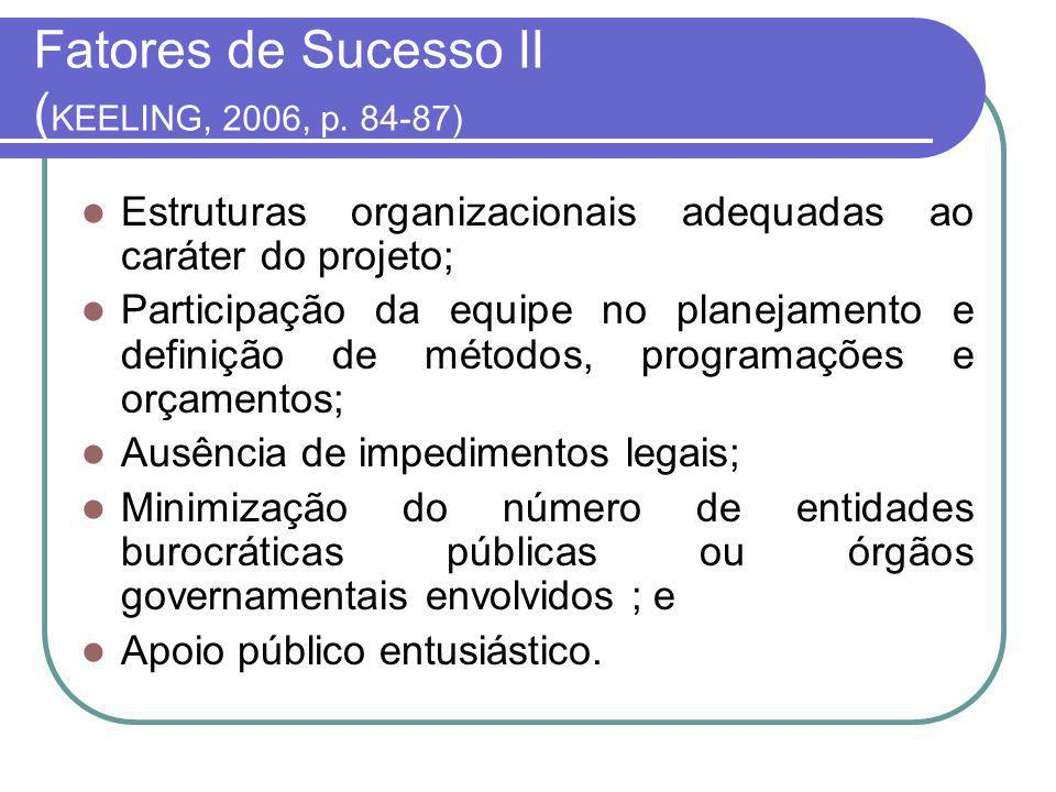 Fatores de Sucesso II (KEELING, 2006, p. 84-87)