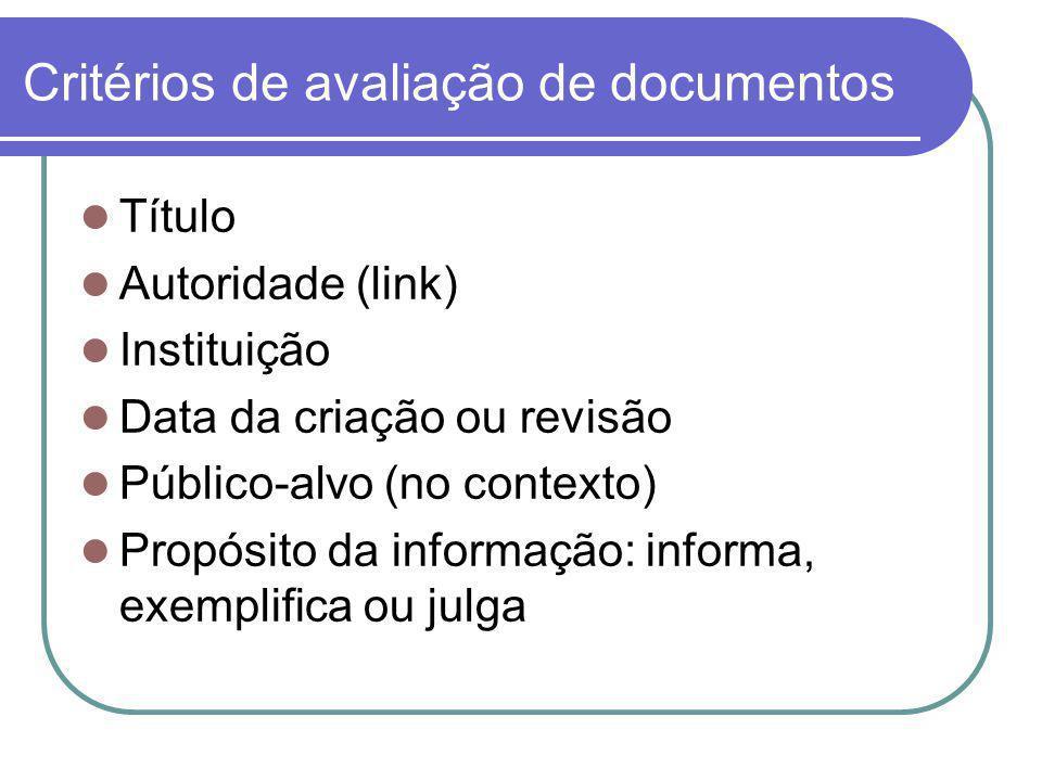 Critérios de avaliação de documentos