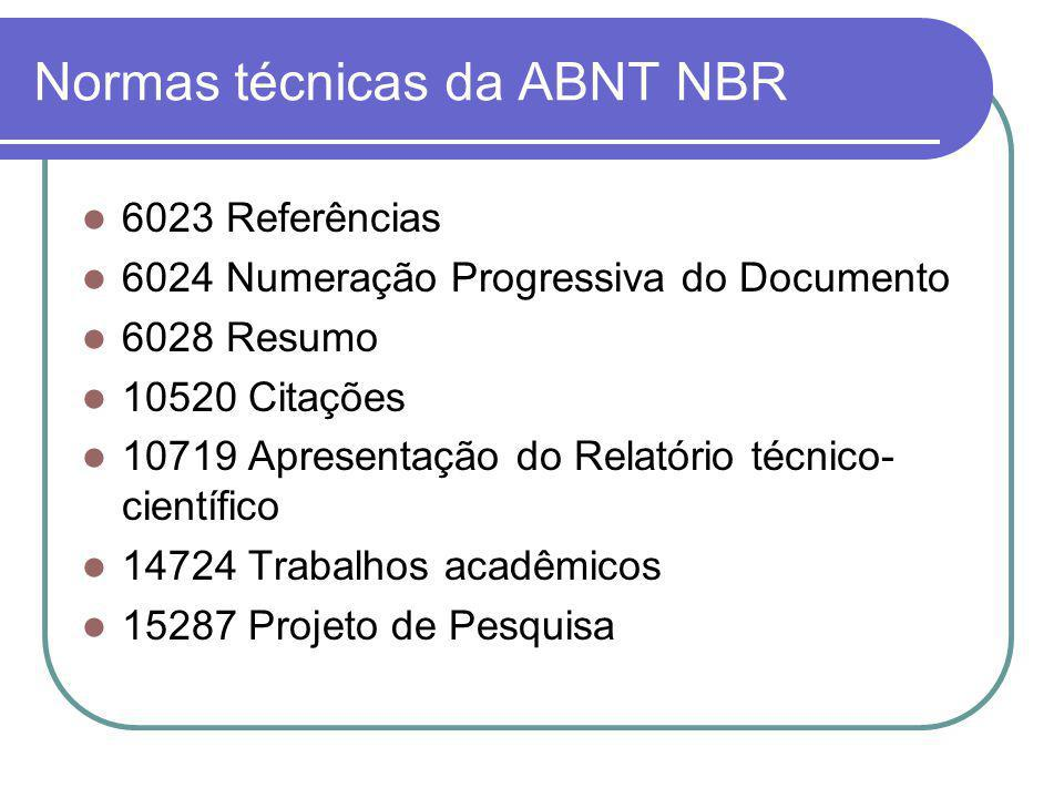 Normas técnicas da ABNT NBR