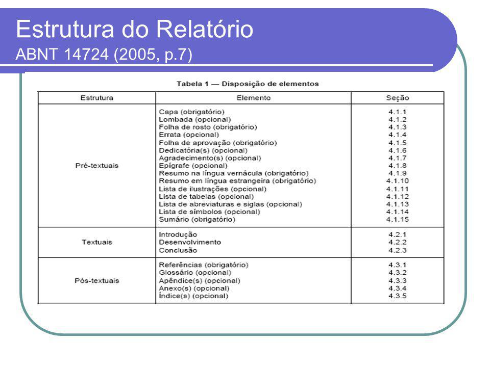 Estrutura do Relatório ABNT 14724 (2005, p.7)