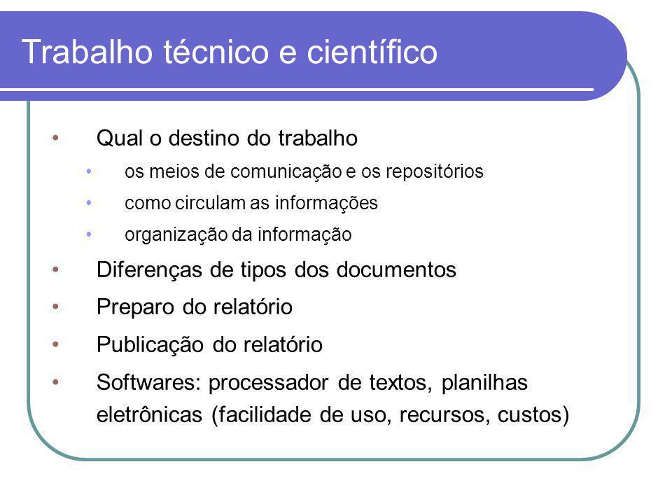 Trabalho técnico e científico