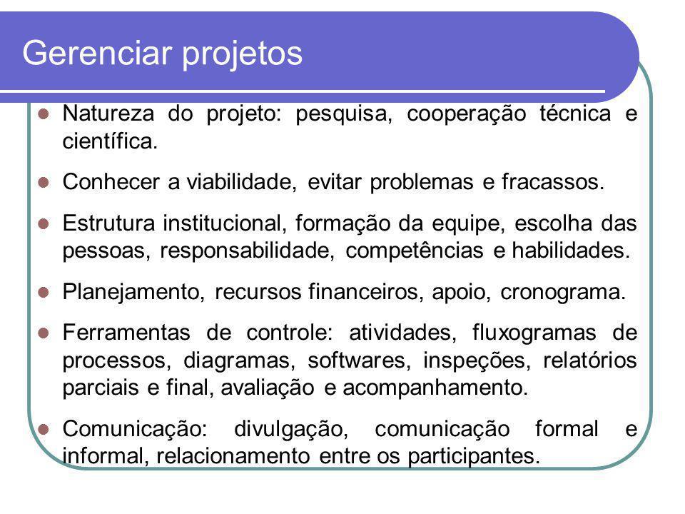 Gerenciar projetos Natureza do projeto: pesquisa, cooperação técnica e científica. Conhecer a viabilidade, evitar problemas e fracassos.