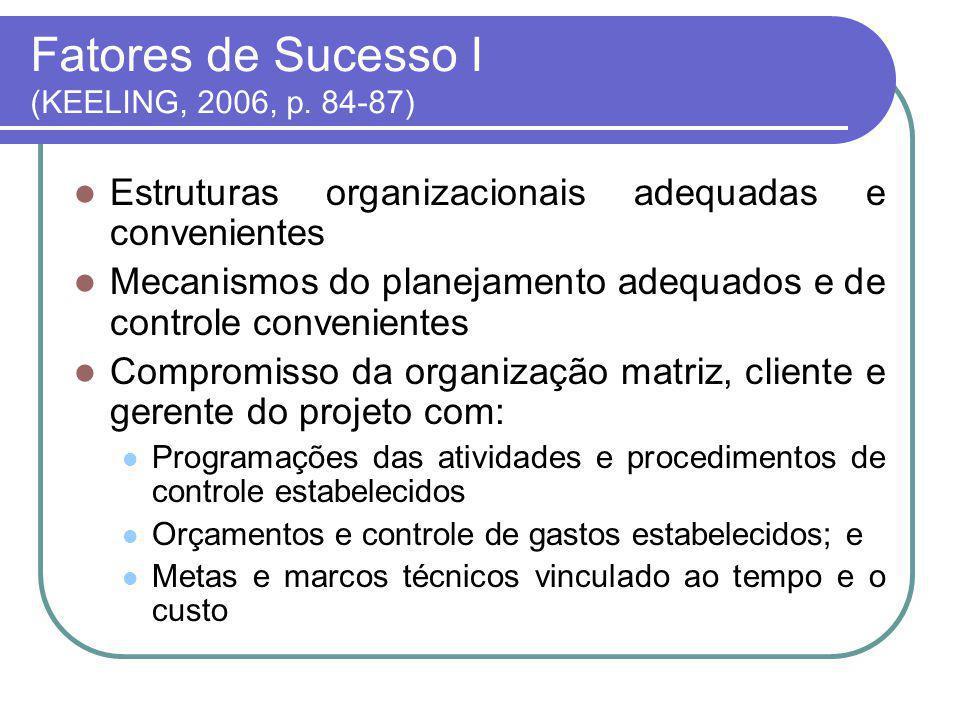 Fatores de Sucesso I (KEELING, 2006, p. 84-87)