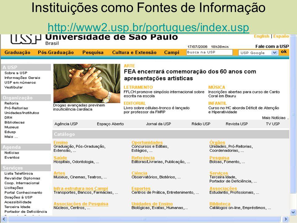 Instituições como Fontes de Informação http://www2. usp