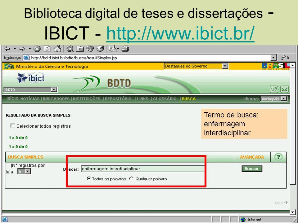 Biblioteca digital de teses e dissertações -IBICT - http://www. ibict