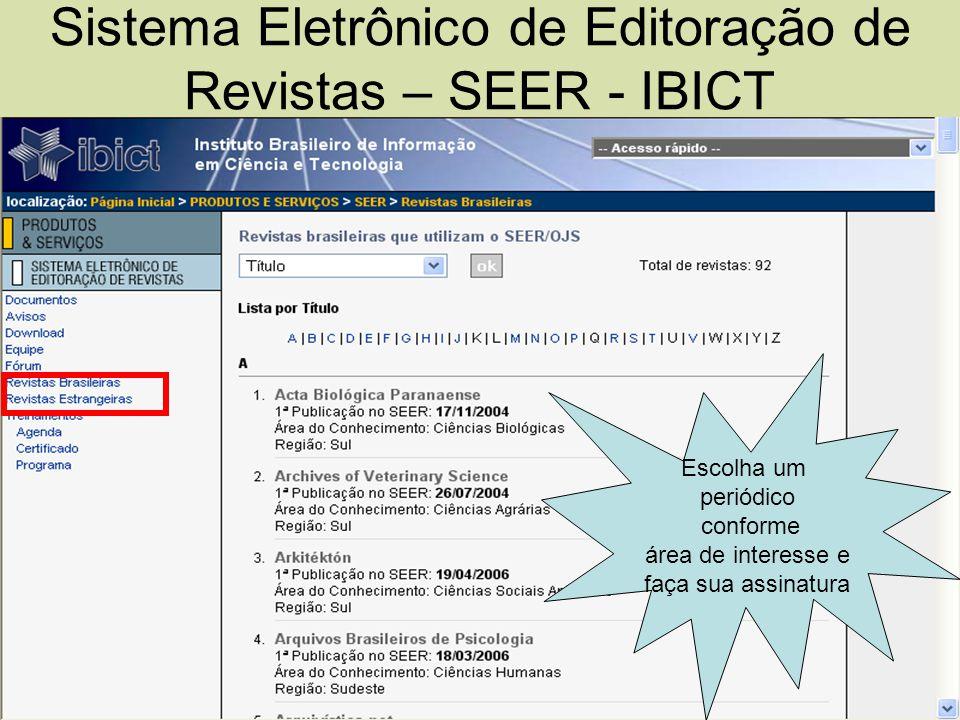 Sistema Eletrônico de Editoração de Revistas – SEER - IBICT