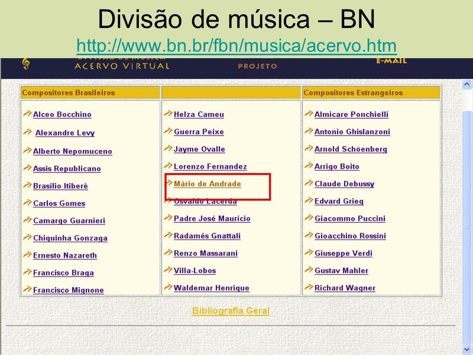 Divisão de música – BN http://www.bn.br/fbn/musica/acervo.htm