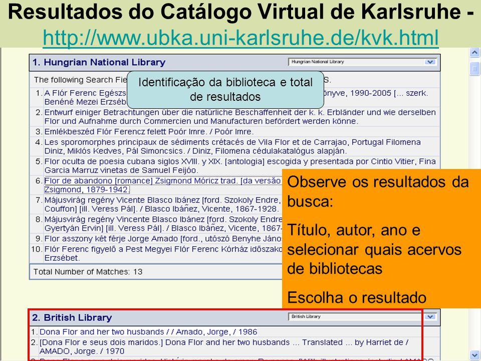 Identificação da biblioteca e total de resultados