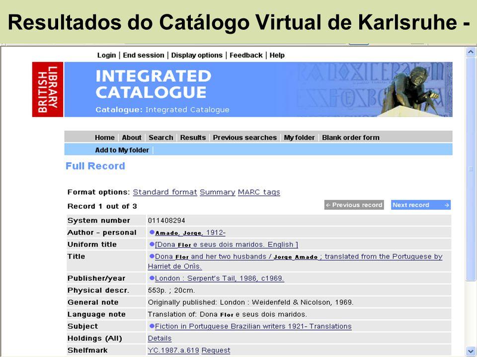 Resultados do Catálogo Virtual de Karlsruhe -