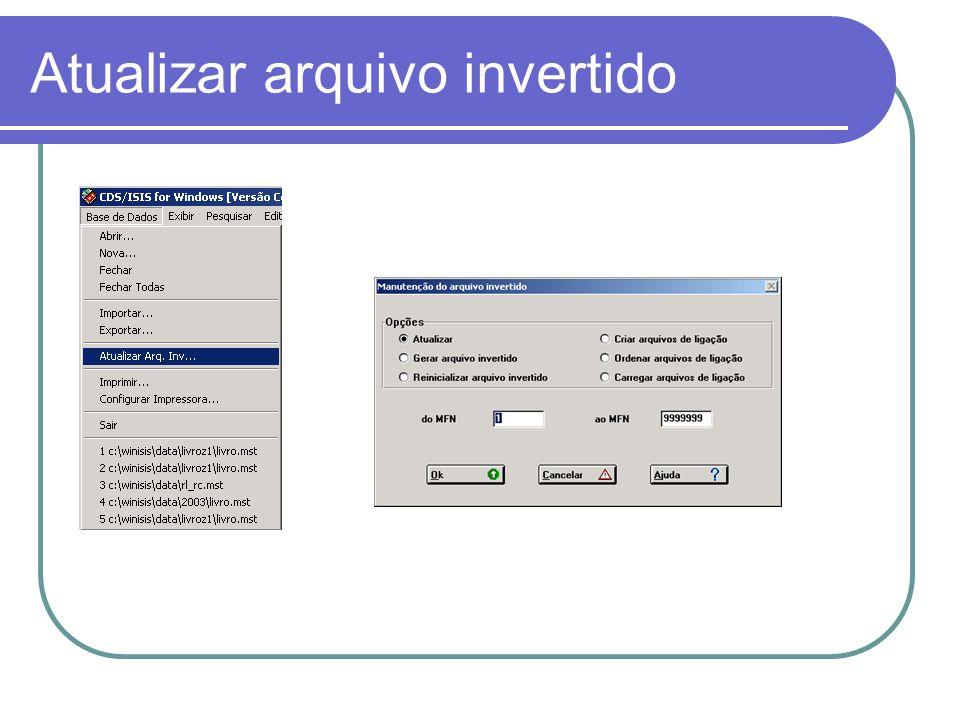 Atualizar arquivo invertido