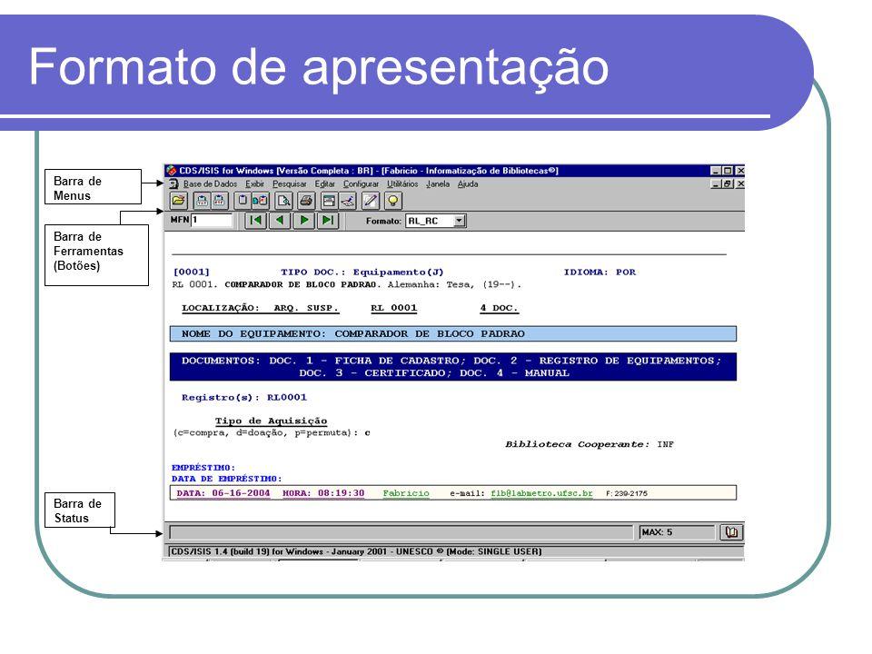 Formato de apresentação