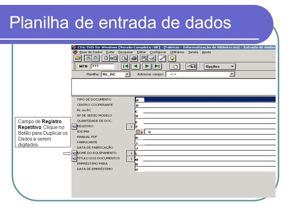 Planilha de entrada de dados