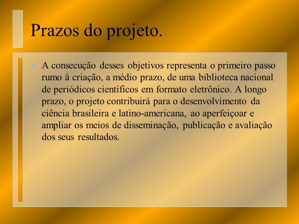 Prazos do projeto.