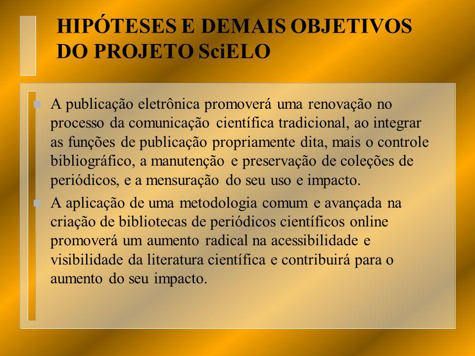 HIPÓTESES E DEMAIS OBJETIVOS DO PROJETO SciELO