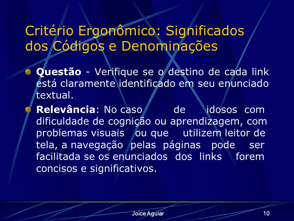 Critério Ergonômico: Significados dos Códigos e Denominações