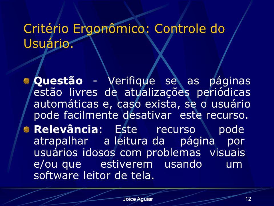 Critério Ergonômico: Controle do Usuário.