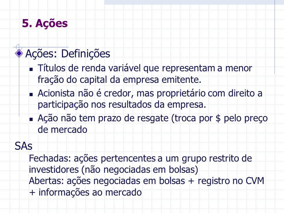 5. Ações Ações: Definições SAs