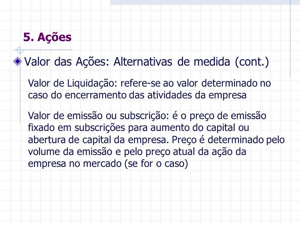 Valor das Ações: Alternativas de medida (cont.)