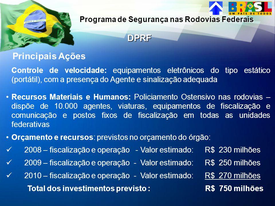 DPRF Principais Ações Programa de Segurança nas Rodovias Federais