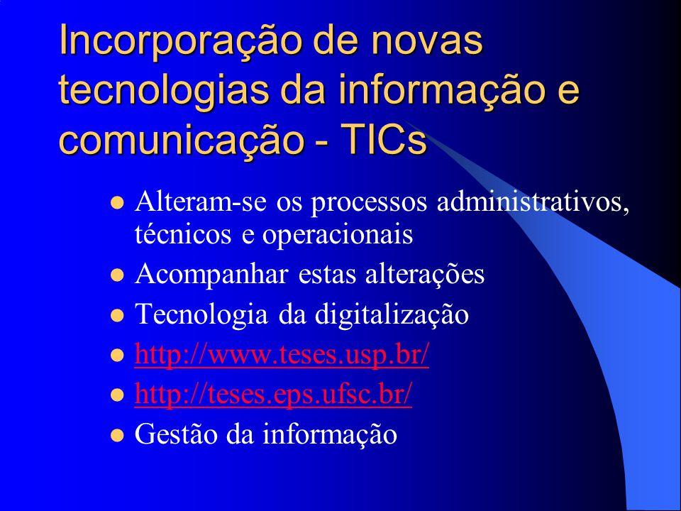Incorporação de novas tecnologias da informação e comunicação - TICs