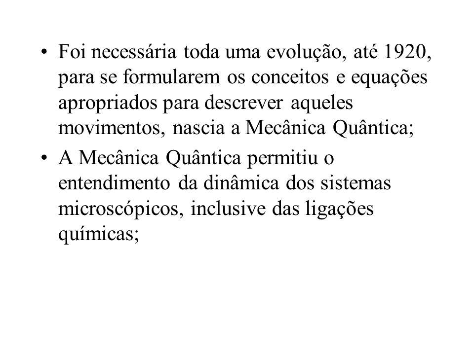 Foi necessária toda uma evolução, até 1920, para se formularem os conceitos e equações apropriados para descrever aqueles movimentos, nascia a Mecânica Quântica;