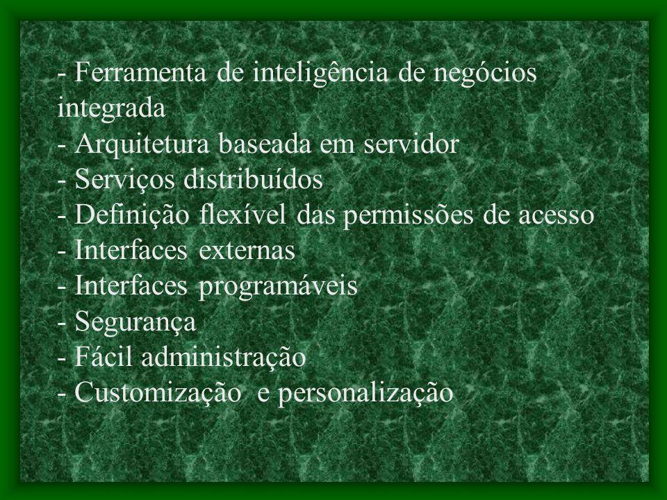 - Ferramenta de inteligência de negócios integrada - Arquitetura baseada em servidor - Serviços distribuídos - Definição flexível das permissões de acesso - Interfaces externas - Interfaces programáveis - Segurança - Fácil administração - Customização e personalização