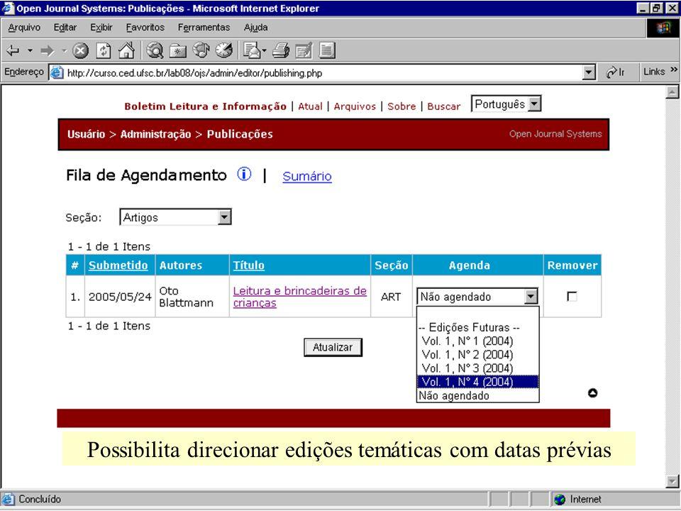 Possibilita direcionar edições temáticas com datas prévias