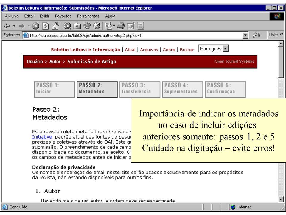 Importância de indicar os metadados no caso de incluir edições