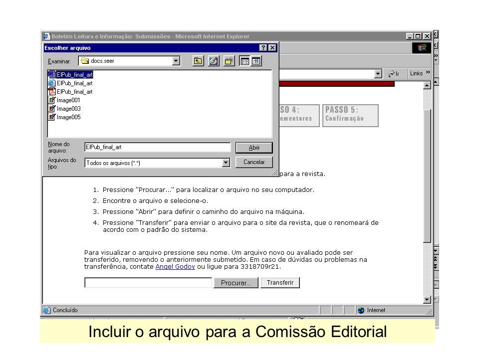 Incluir o arquivo para a Comissão Editorial