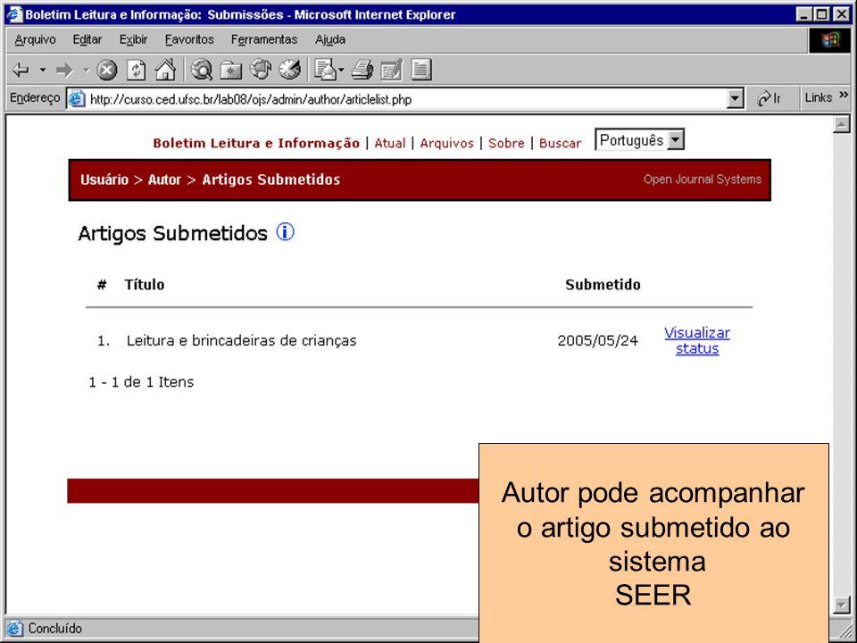 Autor pode acompanhar o artigo submetido ao sistema SEER