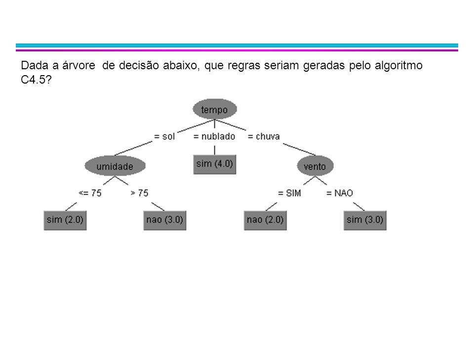 Dada a árvore de decisão abaixo, que regras seriam geradas pelo algoritmo C4.5
