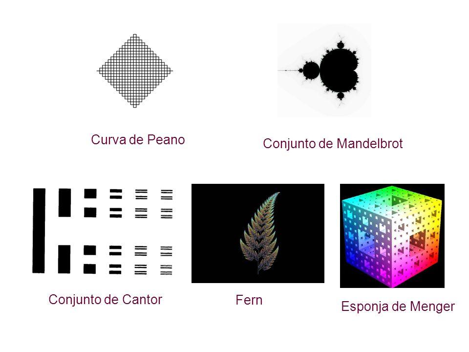 Curva de Peano Conjunto de Mandelbrot Fern Conjunto de Cantor Esponja de Menger