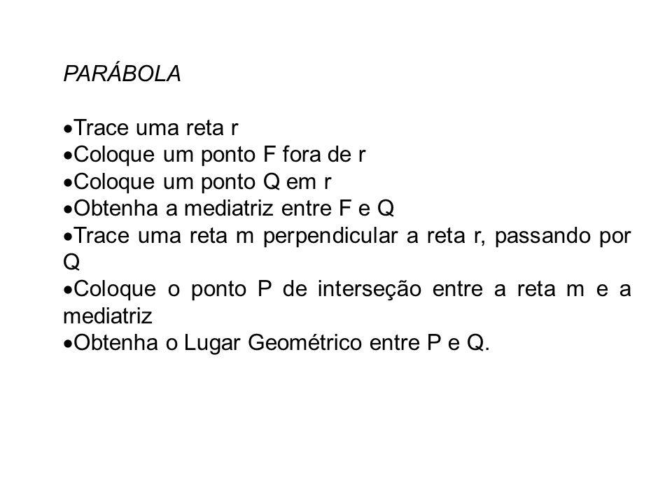 PARÁBOLA Trace uma reta r. Coloque um ponto F fora de r. Coloque um ponto Q em r. Obtenha a mediatriz entre F e Q.