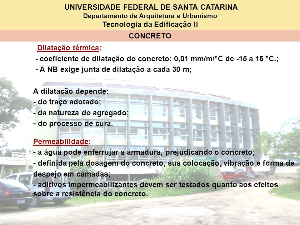 Dilatação térmica: - coeficiente de dilatação do concreto: 0,01 mm/m/°C de -15 a 15 °C.; - A NB exige junta de dilatação a cada 30 m;