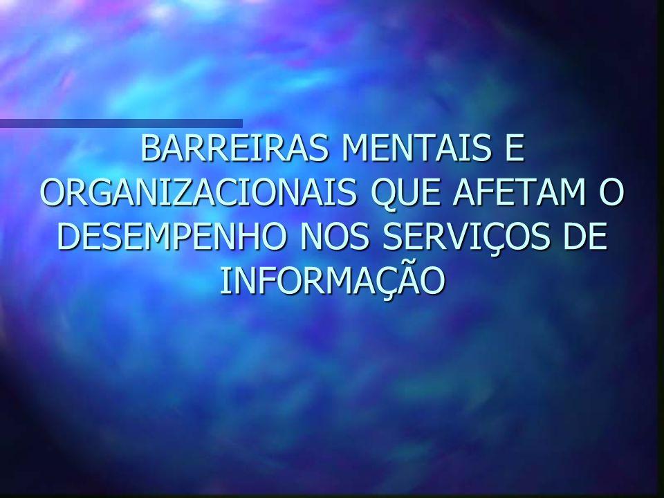 BARREIRAS MENTAIS E ORGANIZACIONAIS QUE AFETAM O DESEMPENHO NOS SERVIÇOS DE INFORMAÇÃO