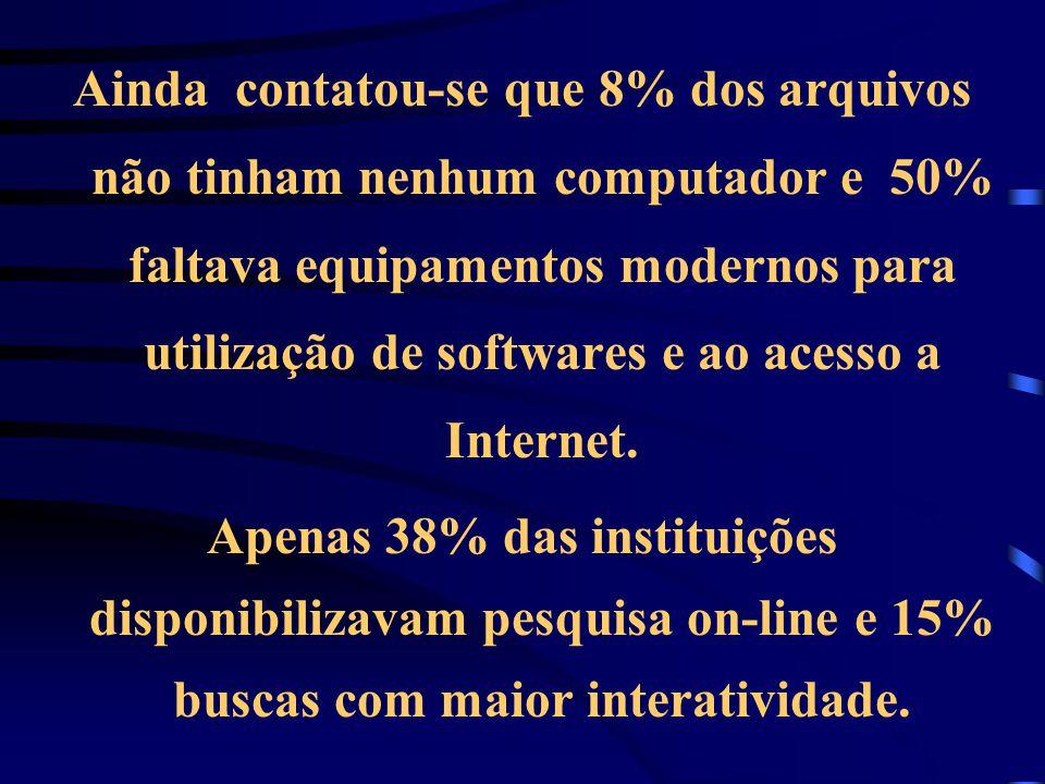 Ainda contatou-se que 8% dos arquivos não tinham nenhum computador e 50% faltava equipamentos modernos para utilização de softwares e ao acesso a Internet.