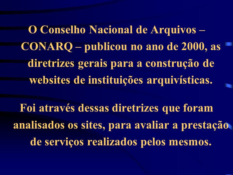 O Conselho Nacional de Arquivos – CONARQ – publicou no ano de 2000, as diretrizes gerais para a construção de websites de instituições arquivísticas.