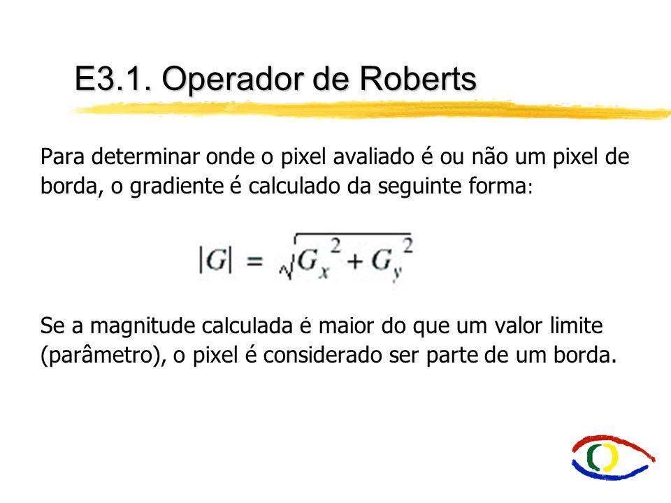 E3.1. Operador de Roberts Para determinar onde o pixel avaliado é ou não um pixel de borda, o gradiente é calculado da seguinte forma:
