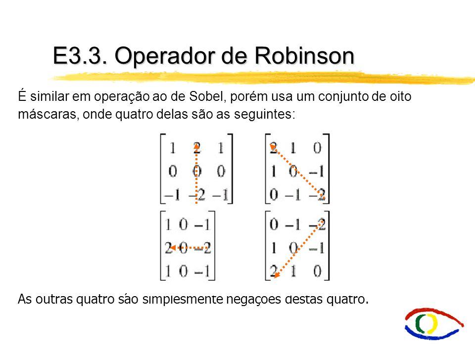 E3.3. Operador de Robinson É similar em operação ao de Sobel, porém usa um conjunto de oito máscaras, onde quatro delas são as seguintes:
